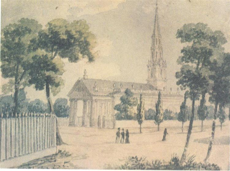 St. Paul's Cathedral in New York, c.1812 - Pavel Svinyin