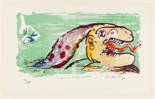 Seen in Profile, Sticking Out Tongue (Tireur de langue profilé), 1964 - Pierre Alechinsky