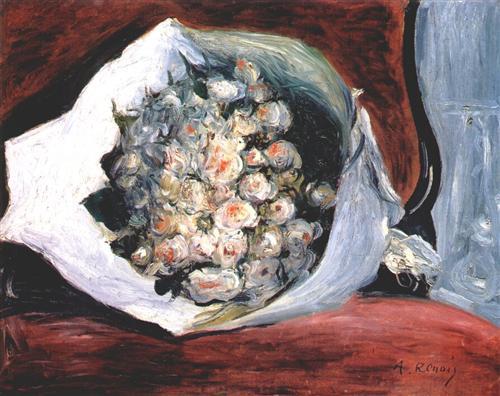 Bouquet in a theater box - Pierre-Auguste Renoir
