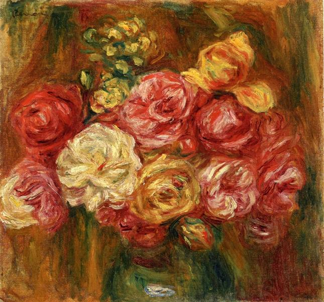 Bouquet of Roses in a Green Vase - Pierre-Auguste Renoir