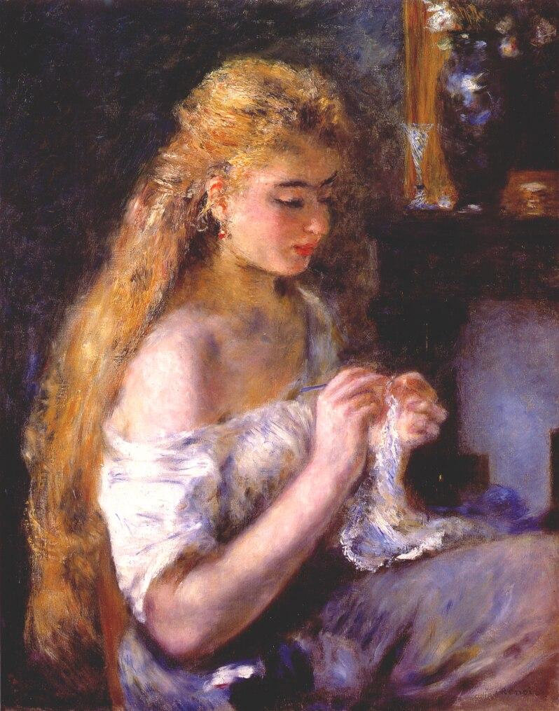 Girl crocheting pierre auguste renoir for Auguste renoir