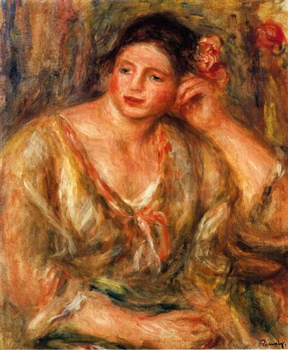 Madeleine Leaning on Her Elbow with Flowers in Her Hair - Pierre-Auguste Renoir