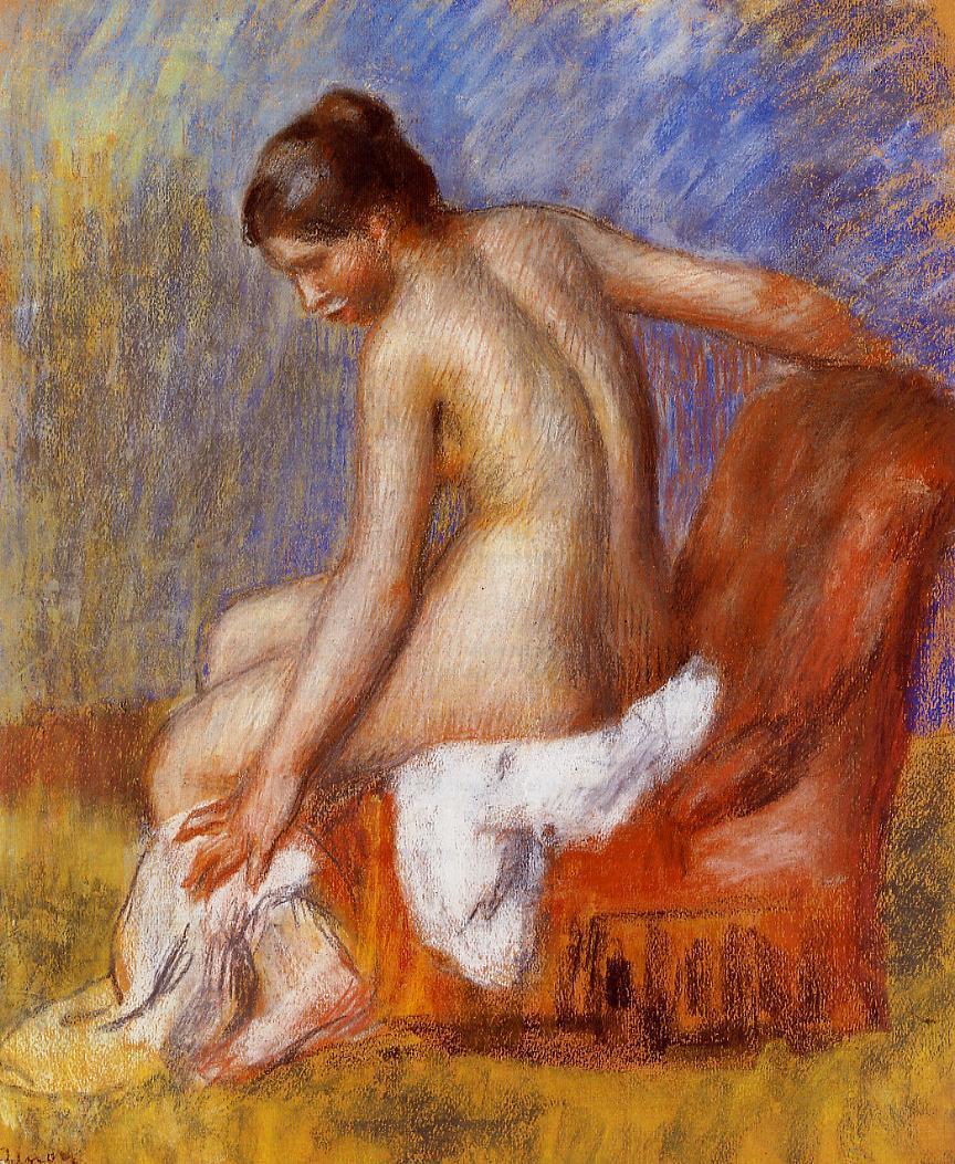 Nude in an Armchair - Pierre-Auguste Renoir. Artist: Pierre-Auguste Renoir