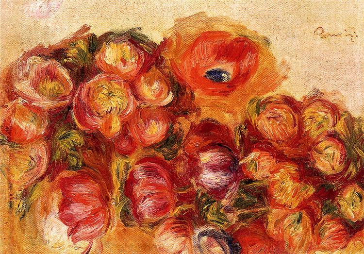 Study of Flowers Anemones and Tulips, c.1906 - 1910 - Pierre-Auguste Renoir