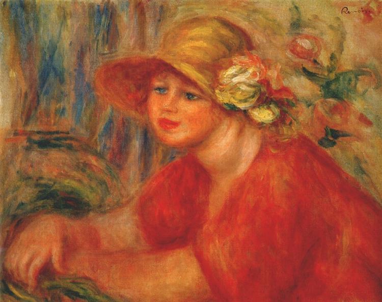 Woman in a hat with flowers, 1917 - Pierre-Auguste Renoir