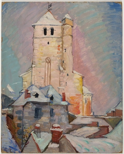 Untitled (Church in snow with rose sky), 1939 - Pierre Daura