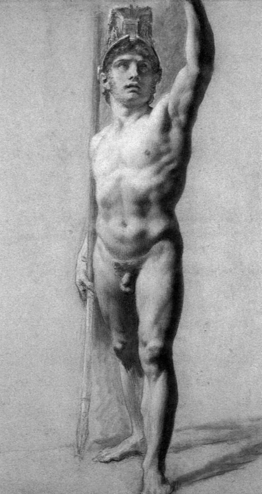 Male Nude Raising his Arm - Pierre-Paul Prud'hon