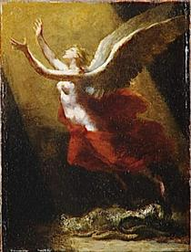 "Study for ""The soul breaking the bonds that attach to the land"" - Pierre Paul Prud'hon"