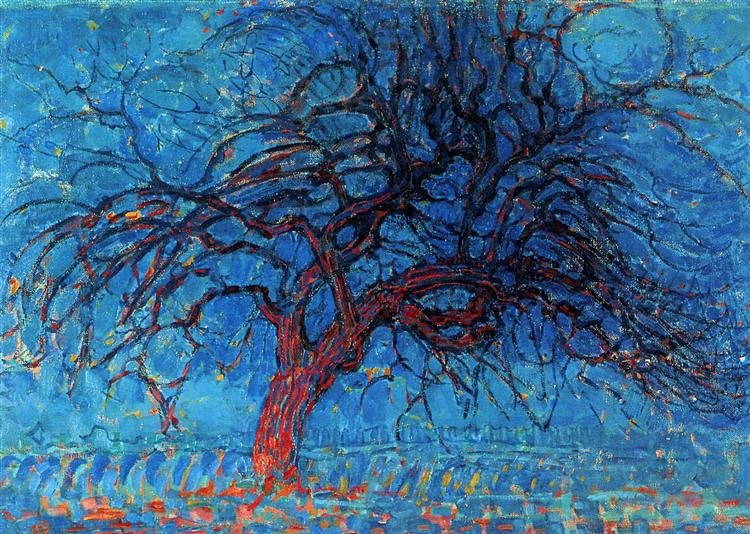 avond evening the red tree 1908 1910 piet mondrian wikiart org