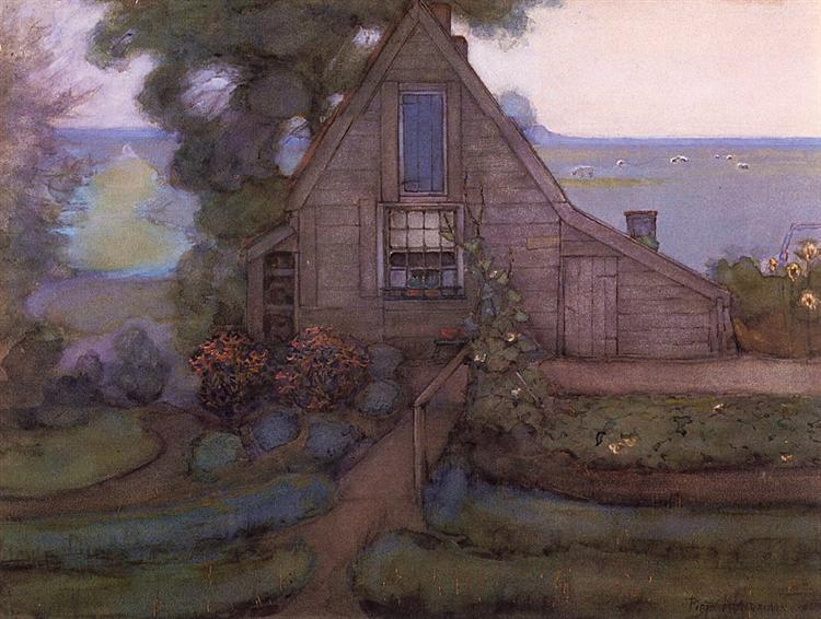 Triangulated Farmhouse Facade with Polder in Blue, c.1900 - Piet Mondrian
