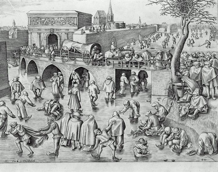 Ice Skating before the Gate of Saint George, Antwerp, c.1558 - Pieter Bruegel the Elder