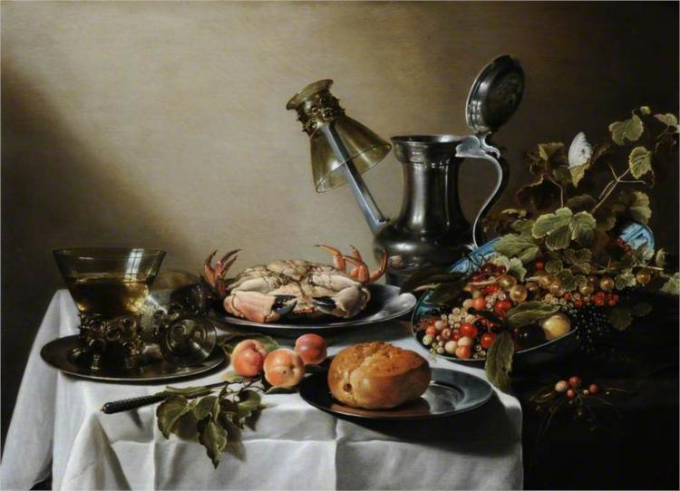 Still Life. Food, Glasses and a Jug on a Table, 1640 - Pieter Claesz