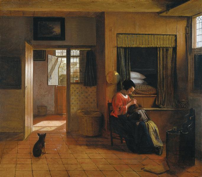 Interior with a Mother delousing her Child, c.1660 - Pieter de Hooch