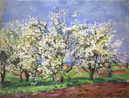 Apple Trees in Blossom. Blue day., 1939
