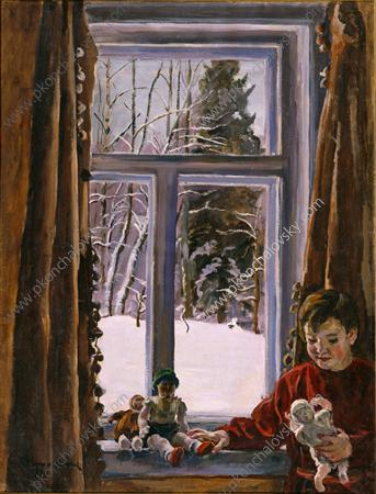 Katya with a doll by the window, 1936