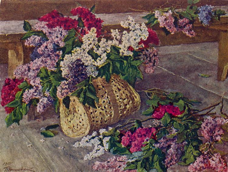 Lilacs in a purse on the floor, 1955 - Pjotr Petrowitsch Kontschalowski