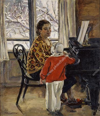 Natalia Petrovna with Katya at the piano, 1935
