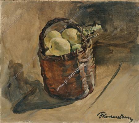 Still Life. Basket of apples on the floor., 1932