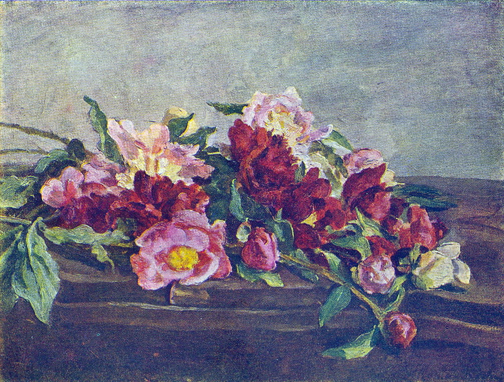Still Life. Peonies on the table., 1933