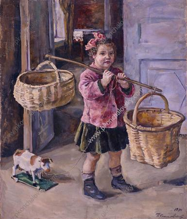 To the water. Katya with baskets., 1934