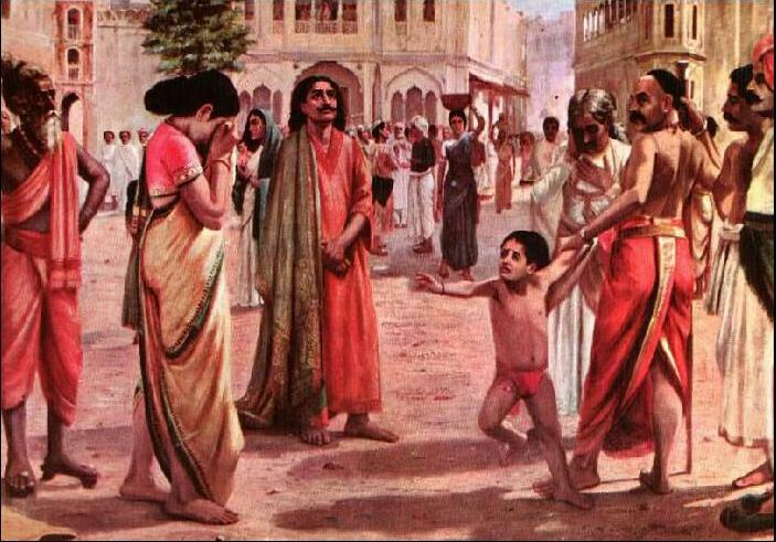 Harischandra in Distress, having lost his kingdom and all the wealth parting with his only son in an auction - Raja Ravi Varma