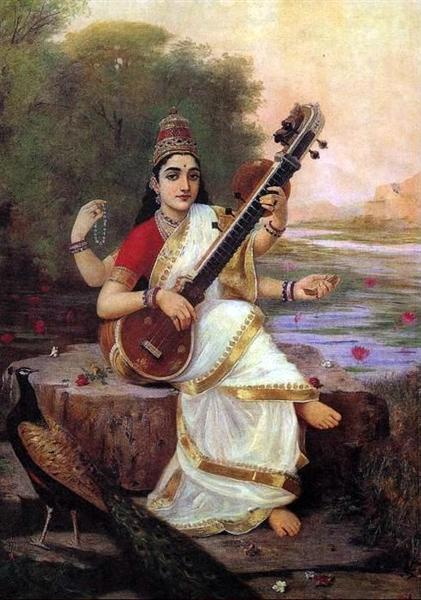 Painting of the Goddess Saraswati, 1896 - Раджа Раві Варма