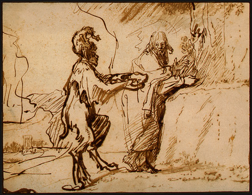 Satan Tempting Christ to Change Stones into Bread, 1635 - 1640 - Rembrandt