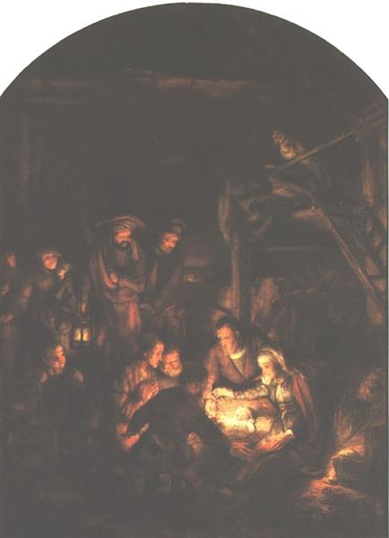 The Adoration of the Shepherds(fragment) - Rembrandt