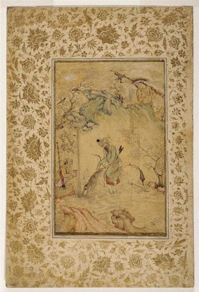 Hunters at a Stream, 1627 - Reza Abbasi - WikiArt.org