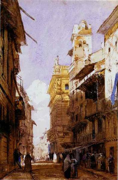 Corso Sant'Anastasia, Verona, with the Palace of Prince Maffei, 1826 - Richard Parkes Bonington