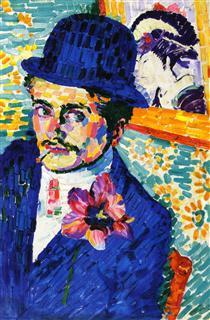 Man with a Tulip (noto anche come Ritratto di Jean Metzinger) - Robert Delaunay