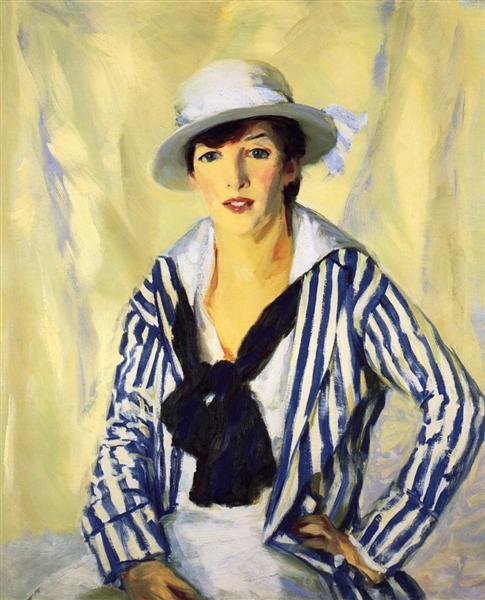 Viv in Blue Stripe, 1914 - Robert Henri