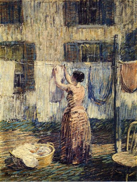 Woman Hanging Out Clothes, 1917 - Robert Spencer