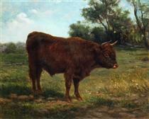 Longhorn Bull in a Landscape - Роза Бонёр