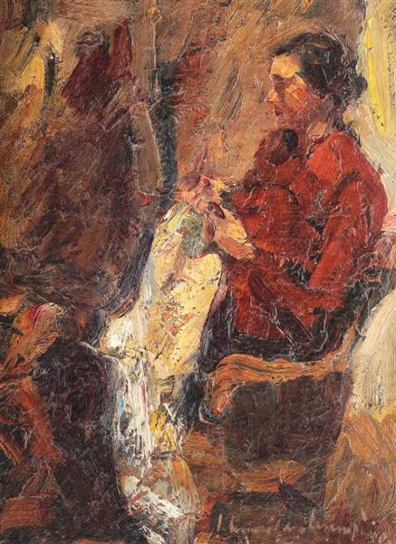 The Wife of the Artist, Sewing, 1938 - Rudolf Schweitzer-Cumpana