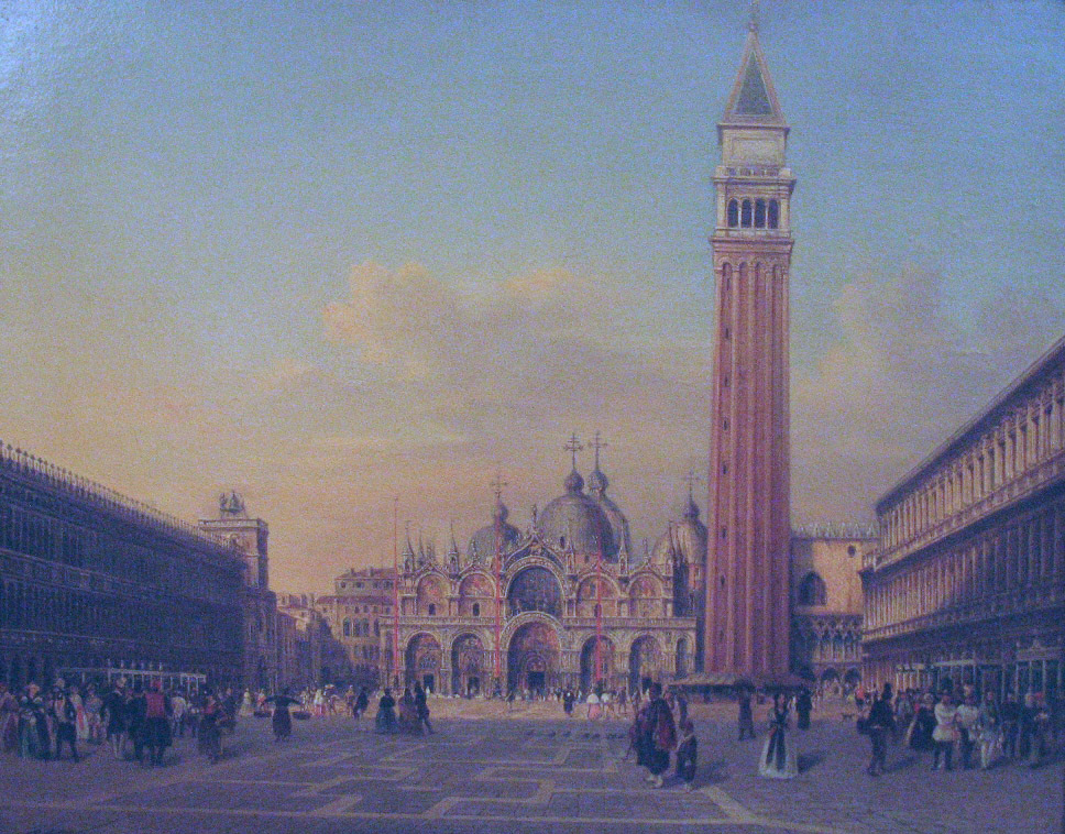 St. Mark's Square in Venice with Austrian military, 1860