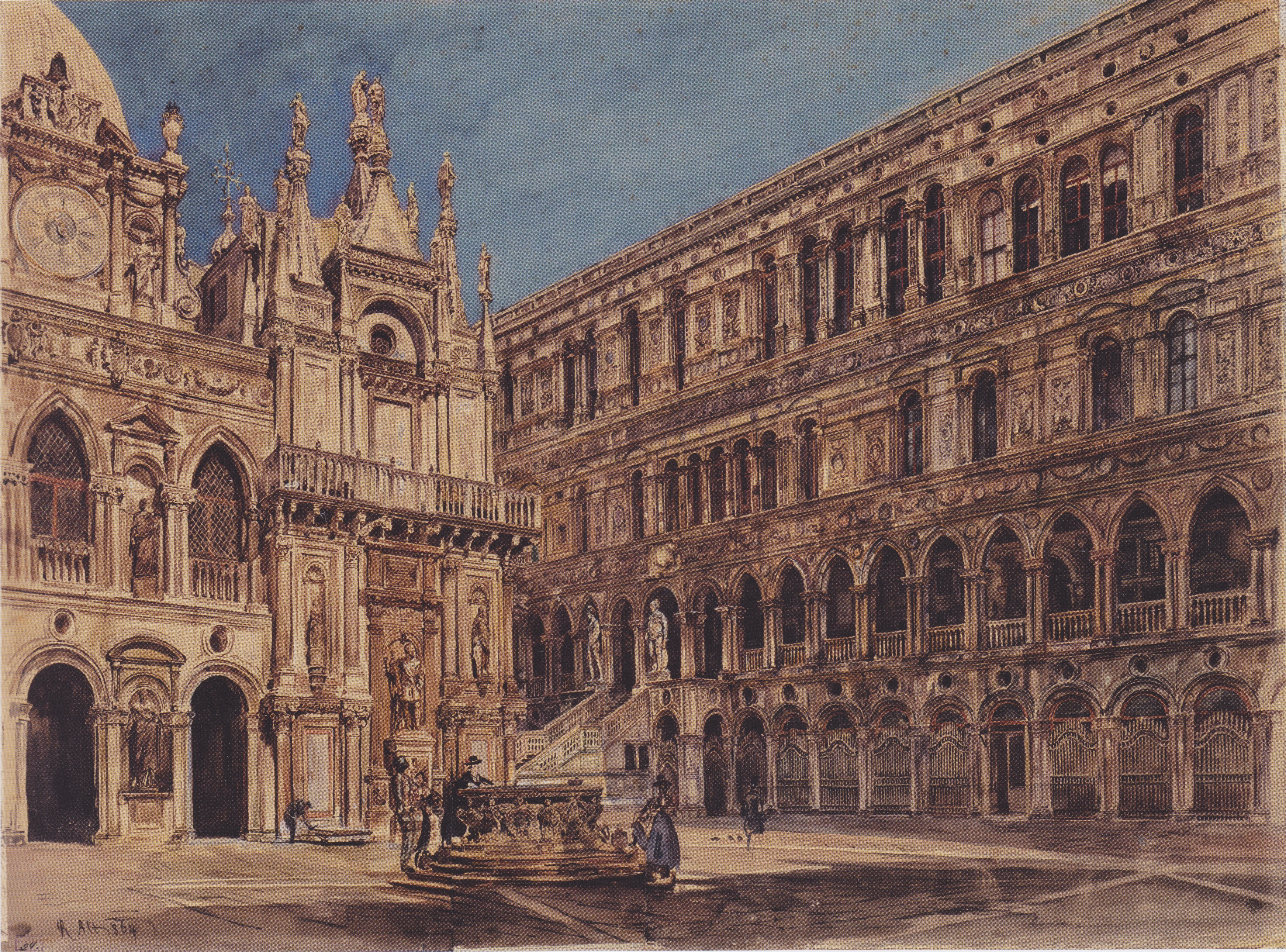 The courtyard of the Doge's Palace in Venice, 1867