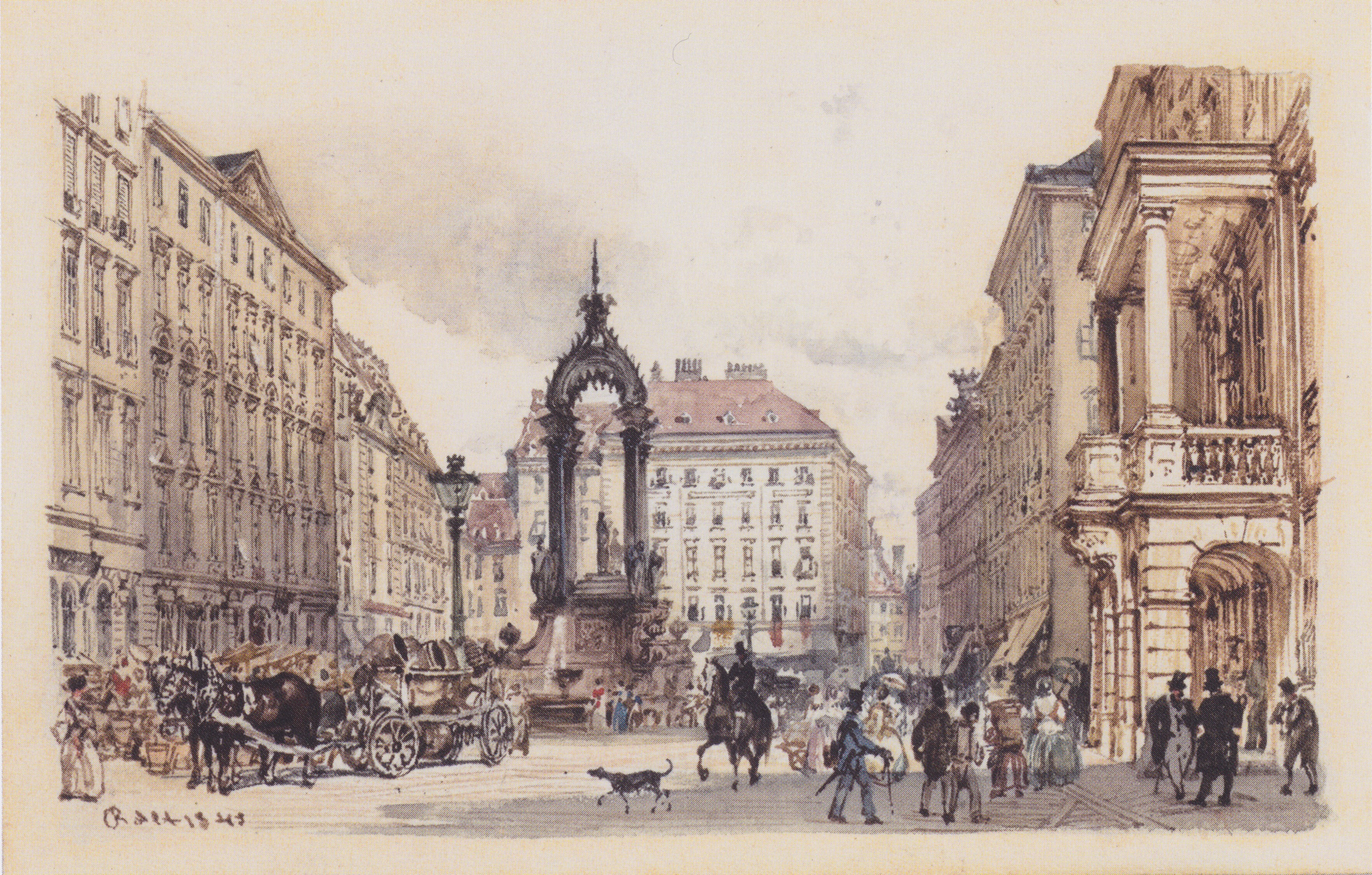 The large market in Vienna, 1845