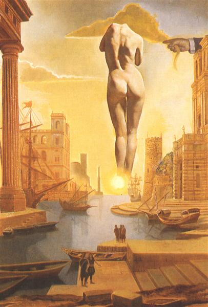 Dali's Hand Drawing Back the Golden Fleece in the Form of a Cloud to Show Gala,Completely Nude,the Dawn,Very,Very Far Away Behind the Sun, 1977 - Salvador Dali