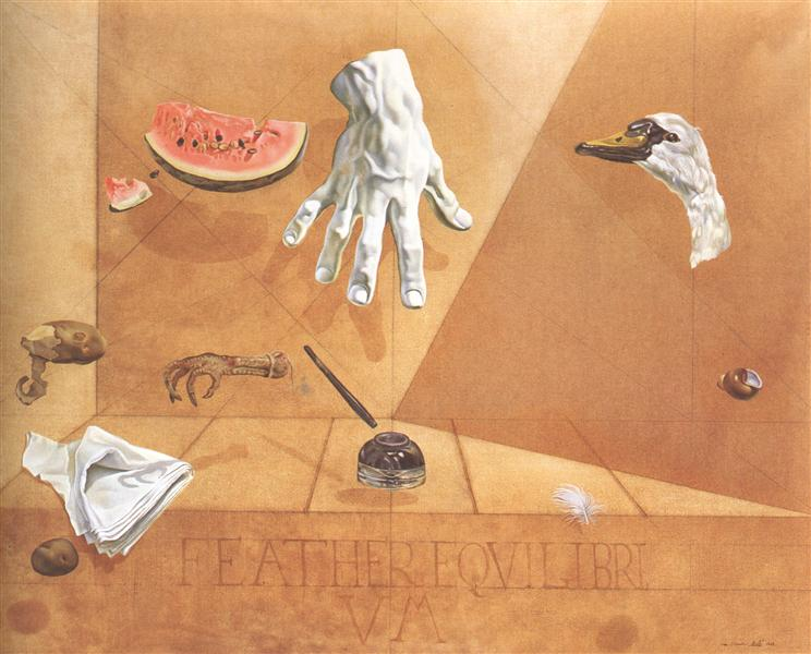 Feather Equilibrium (Interatomic Balance of a Swans Feather), 1947 - Salvador Dali