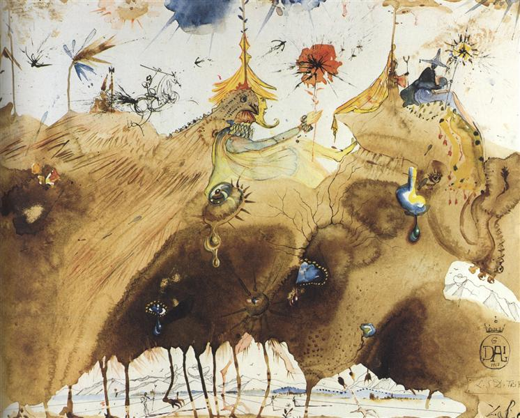 The Mountains of Cape Creus on the March, 1967 - Salvador Dali
