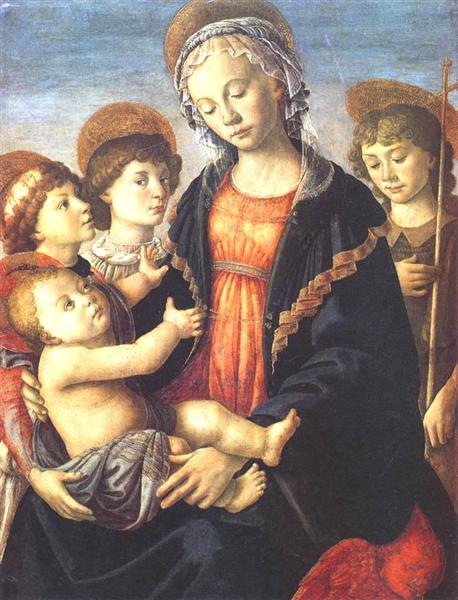 The Virgin and Child with Two Angels and St. John the Baptist, c.1470 - Sandro Botticelli