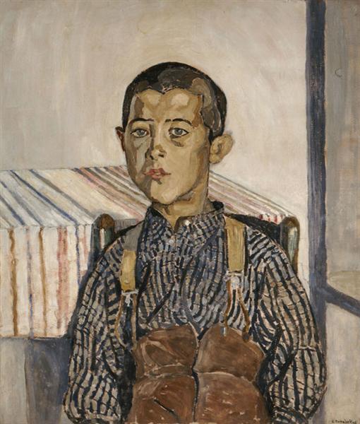 Boy wearing suspenders, 1925 - Спирос Папалукас