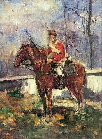 The Mounted Red Hussar - Stefan Luchian