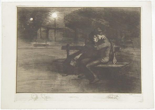 Amoureux Sur Un Banc, 1902 - Theophile Steinlen