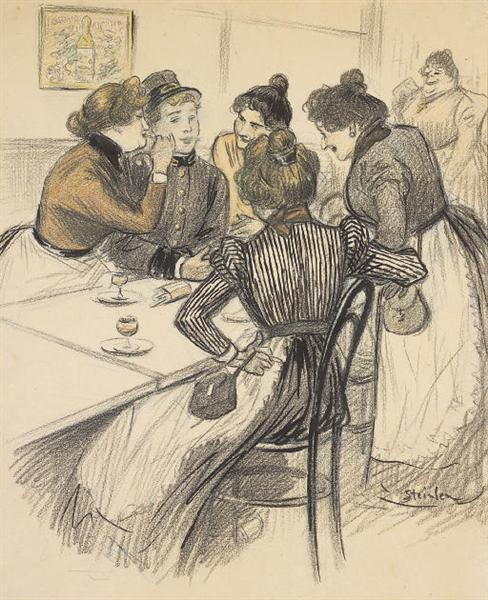 Brasserie Original drawing - Theophile Steinlen