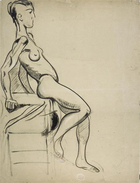Female nude on a chair, 1931 - Theo van Doesburg