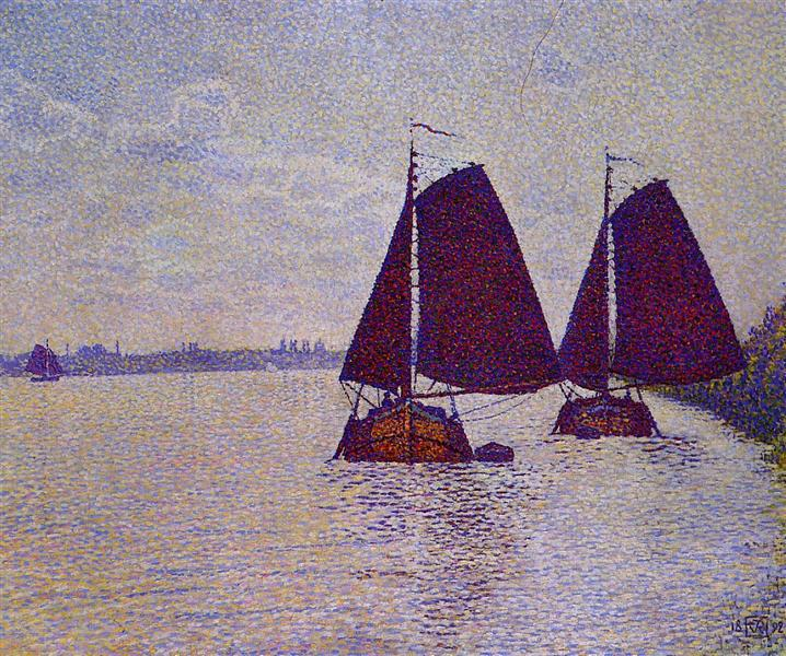 Barges on the River Scheldt - Theo van Rysselberghe
