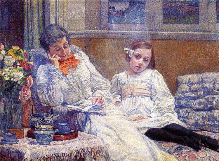 Madame Theo van Rysselberghe and Her Daughter, 1899 - Theo van Rysselberghe