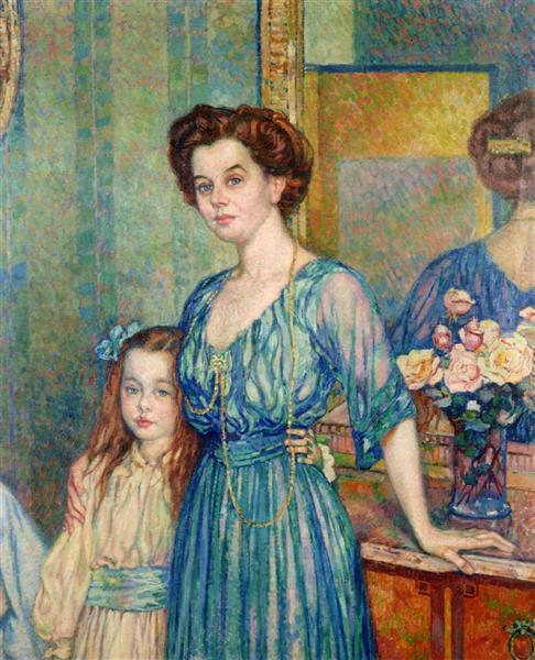 Madame Von Bodenhausen  with her daughter Luli, 1910 - Theo van Rysselberghe